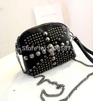 free shipping new  personalized fashion models decorative rivet  diagonal bag shoulder mini fine chain bag,women small bag