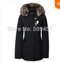 2014 new Best Quality Womens brand Woolrich Artie Parka Winter medium-long Down Jackets large full fur collar Trekking Coat