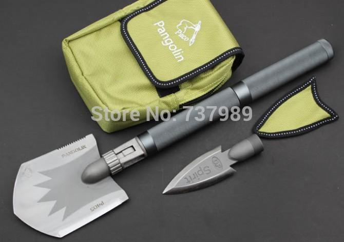 Free shipping pang olin5Cr13mov blade, aluminum handle outdoor elite - multifunctional shovel(China (Mainland))