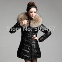 2014 Winter Women's Large Fur Collar Sheepskin Genuine Leather Down Coat Female Medium-long Down Jacket