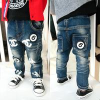 Boys trousers 5 6   autumn children's clothing Cowboys kids jeans pants  double Cc digital baby pants cotton denim jeans