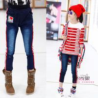 children Cowboys Girls autumn children's stretch cotton jeans pencil pants Leggings long pants Trousers red and white stripes