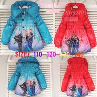 Season autumn/winter 2014 FROZEN snow child Cinderella Polar Fleece Hooded Coat jacket winter coats jackets
