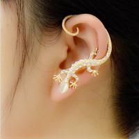 Free Shipping Wholesale 18K Genuine Gold Plated Fashion Gothic Punk Lizard Earcuff Earrings For Women Clip On Earrings,  A002