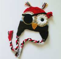 Free Shipping Crochet OWL Pirate Hat Baby Boys Cartoon Character Hat Winter Infant Toddler Cap Children's Beanie Christmas Gifts