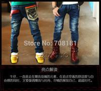 children kids baby pants alphabet boys fight skin washed denim trousers pocket casual  children's clothing autumn