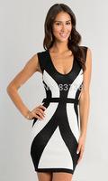 2014 New Fashion Sexy Sheath Ladies Dress White with Black Dress cocktail Tunic Dresses Free Shipping