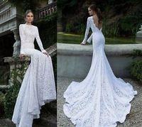 White Ivory Mermaid Lace Wedding Bridal Dress Size 2 4 6 8 10 12 14 16