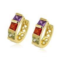 Filigree 18k Yellow Gold Filled GF Color Swa Crystal Huggie Hoop Earrings Free Shipping