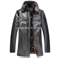 PU fur coat coffee winter leather jacket men casual coffee jaqueta de couro masculina 6XL mens motorcycle jacket BW5