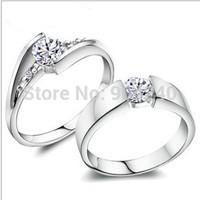 2PCS/LOT 925 Sliver Lovers Ring Elegant JPF Switzerland Jewelry CZ Diamond For Wedding Women Girl's Valentines Gift