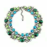 2014 ZA brand  luxury crystal big choker chunky women necklaces & pendants original style upcoming product