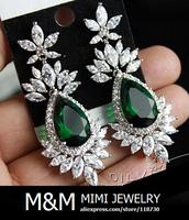 New Arrival Luxury AAA Cubic Zirconia Emerald Green Zircon Big Water Drop Earrings Bridal Wedding Dinner Party Accessories