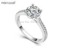Hamasat Alloy Plated Classic Design Ring Elegant Jewelry CZ Diamond  Crystal For Wedding Women Girl's Gift