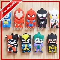 Batman superman iron man spiderman superhero cartoons USB Flash Drive Thumb Pen Drive U Disk Flash Disk 128MB 4gb 8gb 16gb 32gb