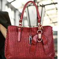 Free shipping fashion new 2014 women handbags famous brands high quality knitting pattern PU women's bag  woman bags