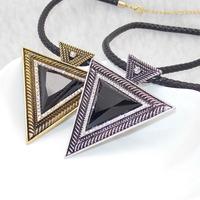 Wholesale Fashion Stylish Chunky Rope Chain Vintage Bronze/ Silver Triangle Pendant Necklace Statement Choker Geometric Necklace