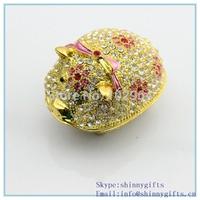 2014 popular pig shape trinket box with diamond