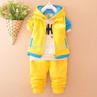 New 2014 Children's Clothing Sets Fish Boys' Hoodies Vest Trousers 3 pcs Sets Girls Autumn Clothing Sets Kids Fall Clothes