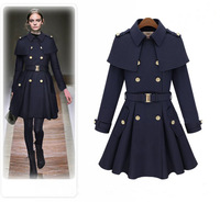 2014 Europe Style Fashion Autumn&Winter Women Tweed Coat Capelet Turn-Down Collar Double Breasted Long Style Outerwear wholesale