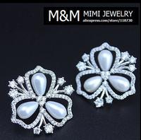 New Arrival Luxury Pearl Flower Shaped Crystal Zircon Stud Earrings Fashion Elegant Bridal Wedding Jewelry For Women