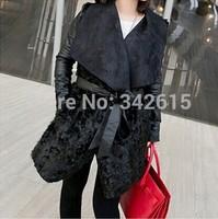 2014 New gagaopt woman Fur PU leather long coats fashion patchwork belt female irregular trench luxury cashmere lady outwear
