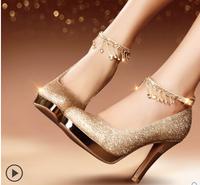 022 Wholesale! Thin Heels Round Toe 10cm Women Pumps dance Party shoes Platform Gold/White Size36-39
