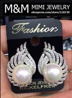 Luxury Pearl Crystal Zircon Stud Earrings Micro Pave Setting AAA Cubic Zirconia Fashion Elegant Bridal Wedding Party Earrings