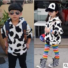 2015 Autumn Winter Korea Cute Black White Cow Dot Kids Clothes Children Coral Fleece Hoodie Boys Girls Fashion Sweatshirt Retail(China (Mainland))