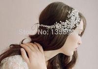 Vintage fashion party rhinestones flower headband tiara bridal hair accessories wedding jewelry crystal handmade hairband crown