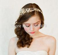 2014 New Top Fasion Wedding Tiara Hair Accessories Powder Bride Hair Accessory Sweet Romantic Art Handmade Accessories Style