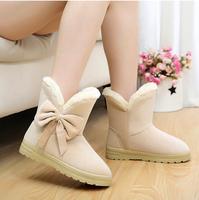 2014 new winter fashion flat women boots warm plush snow boots platforms mid-calf bow boots thicken beige coffe,brown black Q183