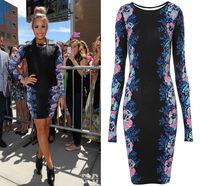 2014 Women Long Sleeve Autumn Dress Flower Print Vintage Dress Maxi Black Dress Ladies Long Bandage Casual Dress