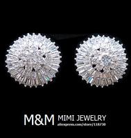 Luxury Sparkling Micro Pave Setting AAA Cubic Zirconia Crystal Zircon Stud Earrings Fashion Elegant Bridal Wedding Earrings