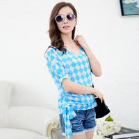 Free Shipping high quality Chiffon women's small V-neck half sleeve plaid waist tie causal blouse