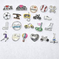 silver mixed style free shipping sport floating charms for glass locket