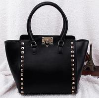 2014 100% genuine leather handbags women messenger bags rivet shoulder bag fashion designers brand bag OL bag ladies tote 1850