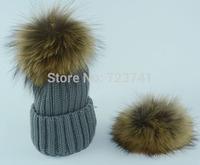 2014 New Fashion HOT Women's Winter Warm Crochet Fur handmade Knitting Hats Beret Ski Beanie Ball Caps Free Shipping