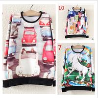 Hot sale !2014 New autumn 3d hoodie high quality Fleece thicken women's hoodies printed long sleeve sweatshirts free shipping