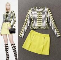 Free shipping 2014 women's fashion print coat half-skirt set skirt suits wholesale va1082