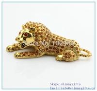 Hot sale high quality metal lion shape trinket box with diamond