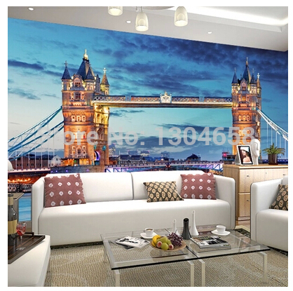 Free shipping to customize the London tower bridge British style large murals television sitting room sofa