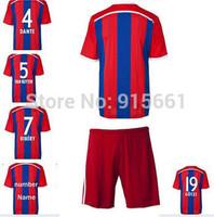 High quality Kits 14 15 Bundesliga Soccer jerseys+shorts ROBBEN RIBERY Home football shirt MULLER LAHM GOTZE Soccer uniforms set