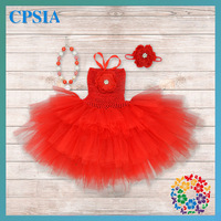 Red christmas costume 3 layers tutu dress latest dress designs for kids girls dresses match headbands necklace a set 12 sets/lot