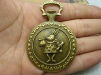 2pcs/lot 44*65mm antique bronze plated rabbit clock charms