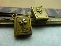 10pcs/lot 13*18mm antique bronze plated clover luck notebook charms