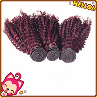 Sexy hot sales BUR Burgundy kinky curly remy human hair 100g Double weft mongolian kinky curly hair weave 100% 6a virgin hair