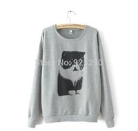 new arrival fashion 2014 autumn winter women warm cotton white grey pullover long sleeve cute cat print  hoodie sweatshirtt