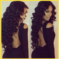 100% curly Wave Virgin Brazilian  Hu-woman Hair Lace Front Wig/full lace wig Natural color density  150%