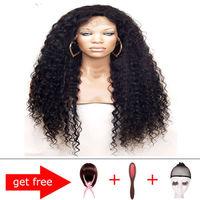100% Virgin Unprocessed Brazilian  Hu-woman Hair Curly Wave lace front Wigs&Glueless Full Lace Wigs